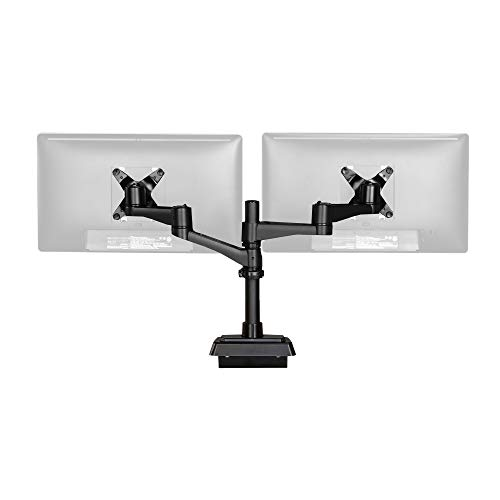 Vari Dual-Monitor Arm 180 Degree - Easy Installation - Perfect for Tight Spaces (up to 27