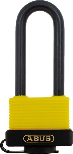 "ABUS 70/45 All Weather Solid Brass Yellow Padlock Keyed Different - Long Steel Shackle (2-1/2"")"