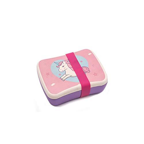 Various Fiambrera Infantil Colegio,Conjunto Sandwichera de bambú.Ideal para Infantil niños y bebé,Material ecológico sin BPA, Apto para lavavajilla-Unicornio Rosa