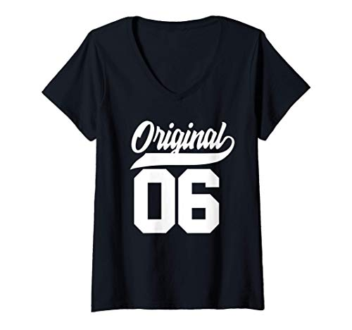 Mujer Regalo de 15 cumpleaños Chicos Chicas Original Nacido 2006 Camiseta Cuello V