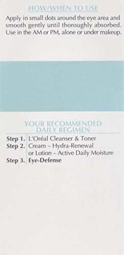 Eye Cream to Reduce Puffiness, Lines and Dark Circles, L'Oreal Paris Skincare Dermo-Expertise Eye Defense Eye Cream with Caffeine and Hyaluronic Acid For All Skin Types, 0.5 oz.