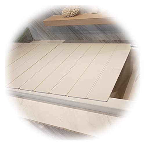 PENGFEI Plegable Bañera Cubierta, Estante Bañera Multifuncional Plegable Aislamiento Térmico Prueba Polvo para Dormitorio Apartamento Casa, Grosor 0.6cm (Color : White, Size : 132x80x0.6cm)