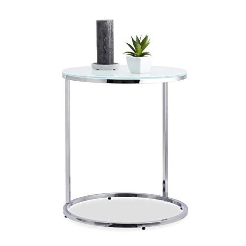 Relaxdays, zilveren bijzettafel chroom, rond, glazen tafel met melkglas, verchroomd metalen onderstel, tafel H x Ø 55 x 48 cm, standaard