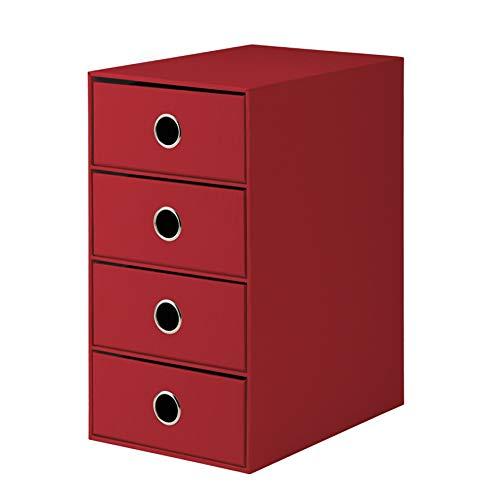 Rössler 1524452364 - S.O.H.O. 4er Schubladenbox für DIN A5, mit Griffloch, rot