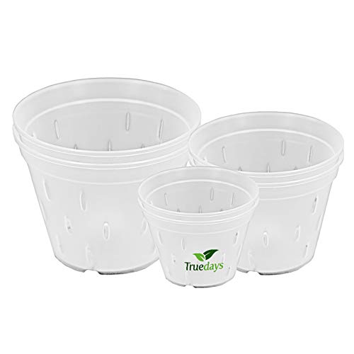 Orchid Pots with Holes Plastic Flower Plant Pot Clear Plastic Orchid Pot for Indoor Outdoor,2 Each of 4.5 Inch/5.5 Inch/7 Inch - 6 Pack