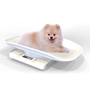 Volwco Báscula Digital para Bebés Y Mascota con Estabilizador De Peso, Balanza Digital con Pantalla LCD, Precisión, Multifunción Y Portátil, 10kg, Blanco
