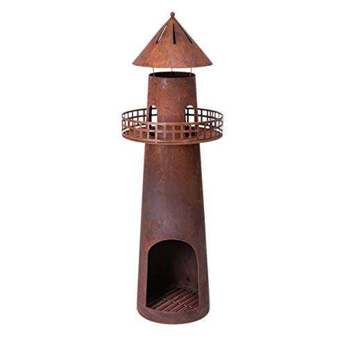 Pureday Feuerstelle Leuchtturm - Gartenkamin - Metall - Rost-Opitk - Höhe ca. 136 cm