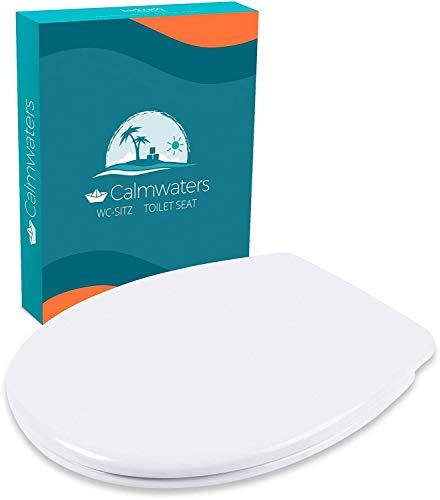 Calmwaters® Premium WC Sitz Toilettendeckel antibakteriell, Made in EU, Klodeckel mit Absenkautomatik, abnehmbar oval, Toilettensitz Duroplast weiß, Edelstahl-Befestigung, WC Deckel & Klo Brille