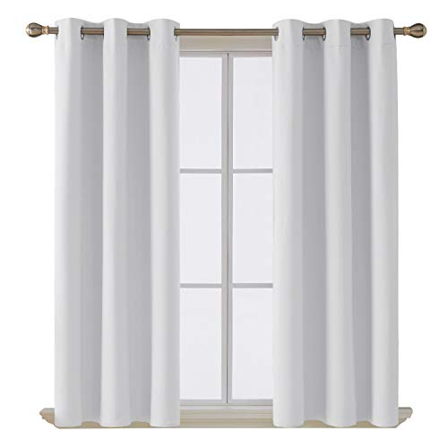 Deconovo Darken Thermal Insulated Blackout Drape Grommet Curtain for Living Room, 42x63 Inch, Pure White