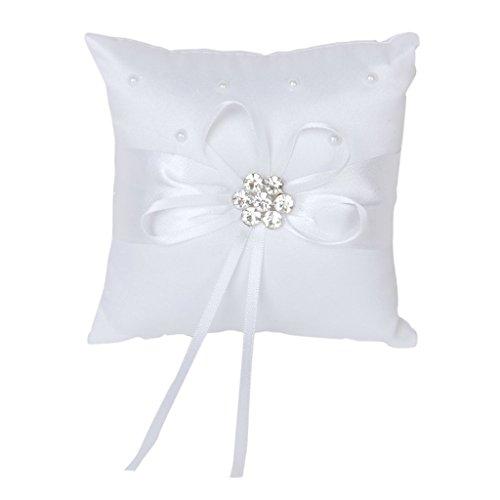 TOOGOO(R) strass Anello Cuscini per di matrimonio bianca perla