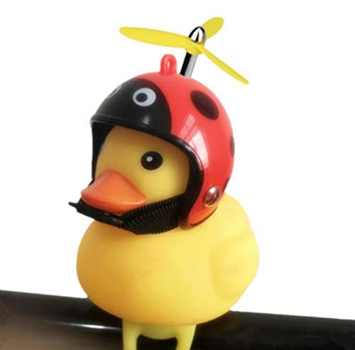 GOCOHHI Kids Bike Horn Cute Bicycle Lights Bell Squeeze Horns for Toddler Children Adults Cycling Motorcycle Yellow Duck Light Rubber Duck Helmet Toys (Ladybug, Duck+Helmet+Propeller)