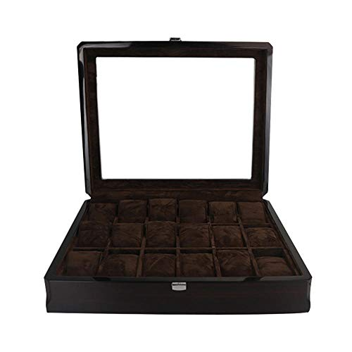 FIONAT Watch Box Jewelry Boxes Men Women Gift 18-Digit Woodenen Painted Watch Case with Glass Sunroof Watch Display Storage Box 37.5 * 21.5 * 8.5Cm