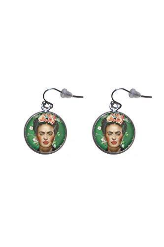 Edelstahl hängende Ohrringe, Durchmesser 20mm, handgemacht, Illustration Frida Feminist