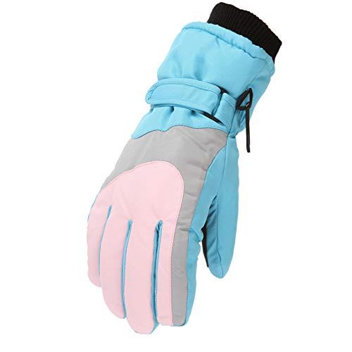 Mizily Skihandschuhe, Wasserdicht rutschfest Winter Sport Handschuhe für Skifahren Snowboard Eislaufen Wandern für Kinder von 6-11 Jahren(Hellblau)