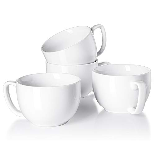 White Porcelain Jumbo Coffee Mugs Set of 4 - 16 Ounce Cups with Handle for Hot or Cold Drinks like Cocoa, Milk, Tea or Water - Smooth Ceramic with Modern Design