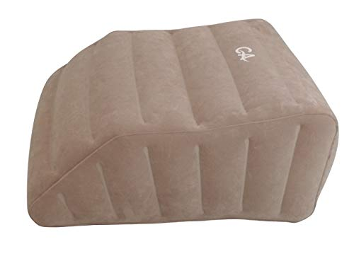 Comfort Axis Wedge Inflatable Leg Pillow, Lightweight Portable Inflatable Leg Rest - Cappuccino