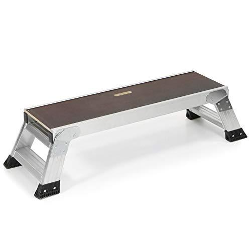 Jumbo® Plataforma de trabajo de aluminio y madera, 100 x 30 cm, altura 0,30 m, plegable, escalera, plataforma de trabajo