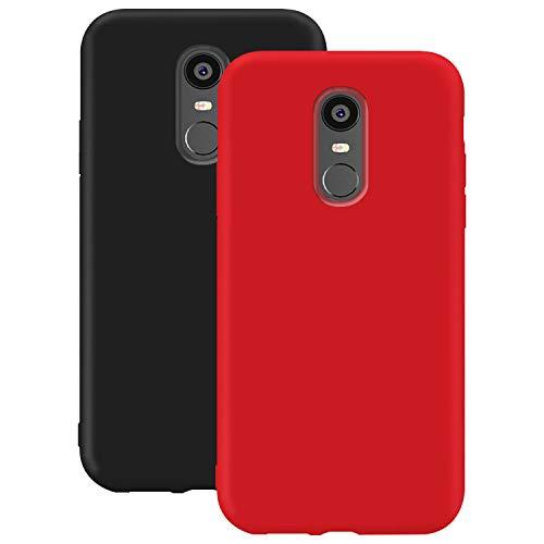 Coque en Silicone pour Xiaomi Redmi Note 4X / Note 4, Misstars Ultra Mince Souple TPU Gel Mat Bumper Doux Léger Anti Rayure Antichoc Housse Étui de Protection, Noir + Rouge