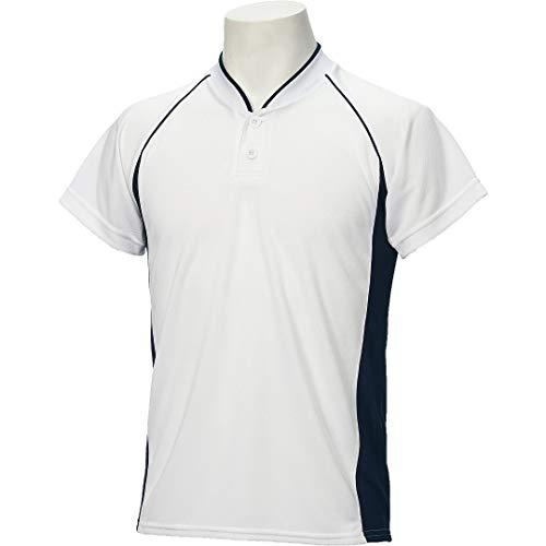 アシックス(asics) 野球 ウェア ジュニア ベースボール シャツ 半袖 2ボタン BAD11J 130サイズ ホワイト/ネイビー BAD11J ホワイト/ネイビー 130