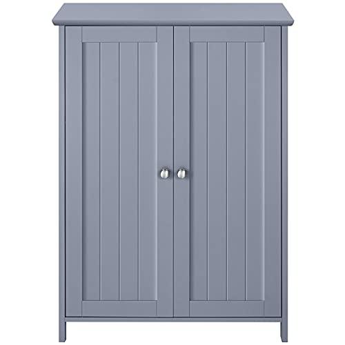 YAHEETECH Yahheetech Bathroom Floor Cabinet w/Double Doors & Adjustable Shelves, Free Standing Cabinet Storage Organizer for Bathroom/Kitchen/Living Room/Hallway, Gray