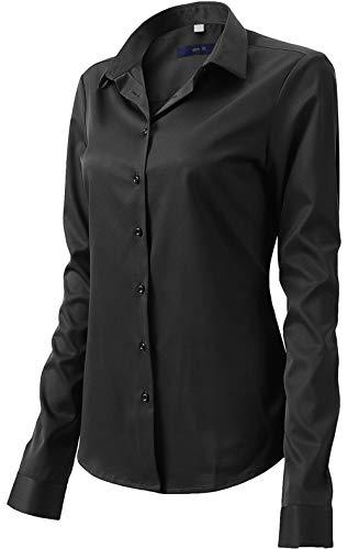 Damen Bluse aus Bambusfaser Elastisch Slim Fit Hemd für Freizeit Business Figurbetonte Hemdbluse Langarm Elegant Shirt Bügelfrei Schwarz 36/10