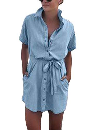 Onsoyours Jeanskleider Damen Sommerkleid Jeans Kleider V-Ausschnitt Strandkleider Einfarbig A-Linie Kleid Blusenkleid Hemdkleid Knielang Kleid Denimkleid C Blau XXL