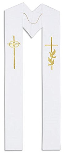 Wedding Stole Embroidery on Polyester 110 Inches Long, White
