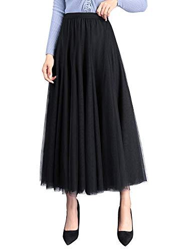 WangsCanis Damen Langer Tüllrock A Linie Tüll Röcke Einheitsgröße Elegante Hochzeit Tutu Maxiröcke (Schwarz, Einheitsgröße)