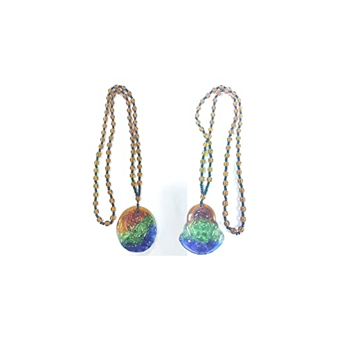 COLORFUL BLING Natural Stone Crystal Buddha Pendant Necklace Green Stone Beaded Chain Choker Transparent Glaze Laughing Buddha Amulet Collar Necklace Women Jewelry-2 pcs