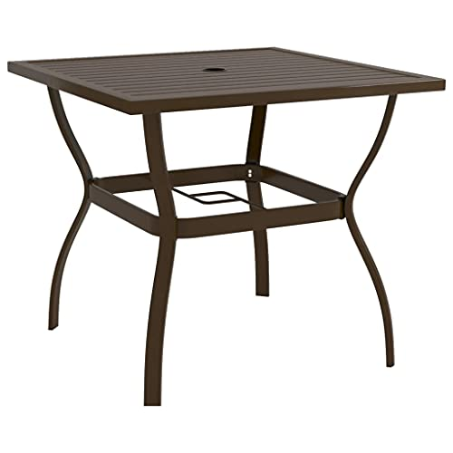 "vidaXL Garden Table Outdoor Balcony Patio Terrace Backyard Home Decor Furniture Dining Dinner Dinette Lounge Table Brown 32.1"" Steel"