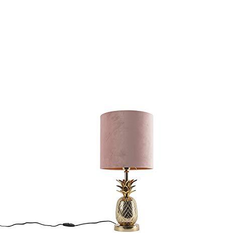 QAZQA Art Déco Lámpara de mesa botánica dorada con pantalla de terciopelo rosa 25 cm - Tropical Aluminio/Textil Cilíndra/Orgánica Adecuado para LED Max. 1 x 40 Watt