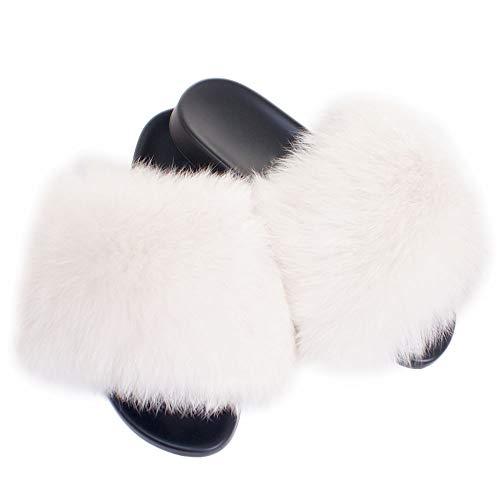 Fell Latschen Pelz Pantoffeln mit weiß Fuchs Echtfell Echtpelz Schlappen Sandalen mit Pelz Fuchsfell Slipper Slides Schuhe Pantoletten (weiß, Numeric_40)