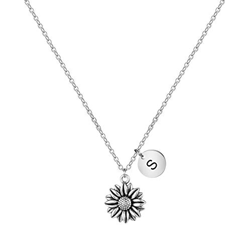 Sunflower Necklace You're My Sunshine Jewelry Personalized Inspirational Gifts for Her Women Teen Girl Daughter Wife Mom Sister Girlfriend Cute S Initial Memorial Gift Loss of Loved One