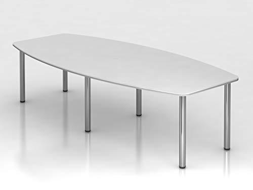 Konferenztisch 280cm 6 Chromfüße Weiß Bürotisch Besprechungstisch