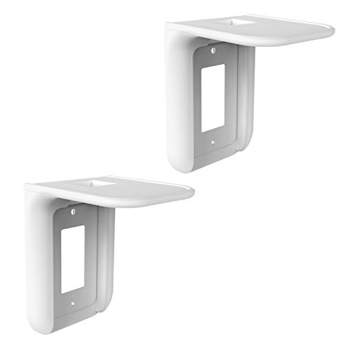 WALI Wall Bathroom Shelf Standard Vertical Duplex Décor Outlet with Cable Channel for Cell Phone, Dot 1st and 2nd 3rd Gen, Google Home, Speaker up to 10 lbs (OLS002-W), 2 Pack, White