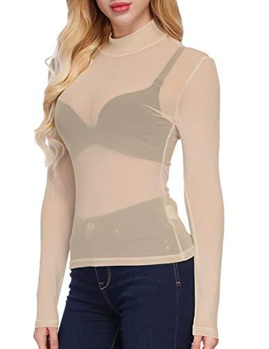 Kate Kasin Women's Plus Size Perfect Long Sleeve Mock Turtleneck Mesh Sheer Tops(M,Nude)