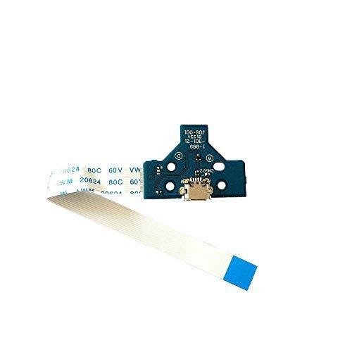 Rinbers Puerto de carga USB JDS-001 para controlador Sony PS4 de 1ª generación con cable de cinta de interruptor de alimentación de 14 pines