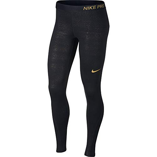 Nike MTLC Dots Printed Tight Damen, Black/Metallic Gold, S