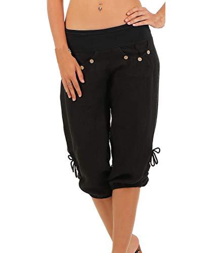 ShallGood Mujer Pantalón Bombacho Aladino Harem Pantalón 3/4 Yoga Baggy Aladin Boyfriend Sudadera Pantalón Corto Colores Sólidos Yoga Capri Cortos De Oficina