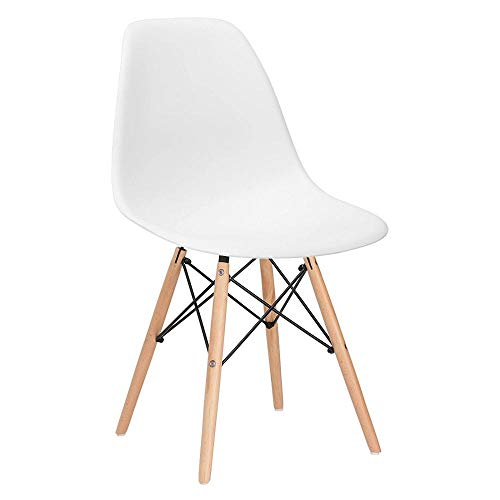 Cadeira Charles Eames Eiffel Dsw - Branco - Madeira clara