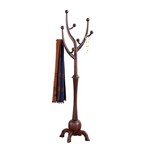 LUAN Perchero Escudo Rama Creativa del Estante de Madera Percha Europea Piso Dormitorio Principal de Madera Maciza de árbol Perchero Base de Cuatro pies Perchero Perchero de (Color : Dark Walnut)