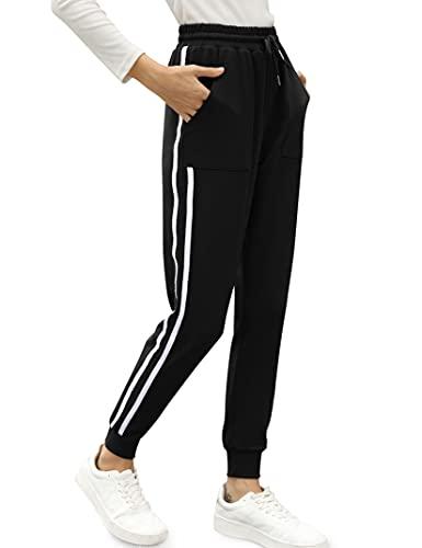 KOJOOIN Damen Jogginghose Lange Sporthose Loose Fit Trainingshose mit Taschen und Kordelzug, Freizeithosen Baumwolle Sweathose Schwarz M