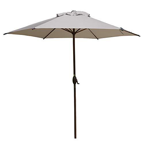 Abba Patio 9FT Patio Umbrella Outdoor Umbrella Patio Market Table Umbrella with Push Button Tilt and Crank for Garden, Lawn, Deck, Backyard & Pool, Khaki