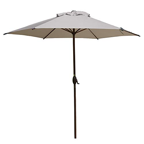 Abba Patio 9ft Patio Umbrella Outdoor Umbrella Patio Market Table Umbrella with Push Button Tilt and Crank for Garden, Lawn, Deck, Backyard & Pool, Cream