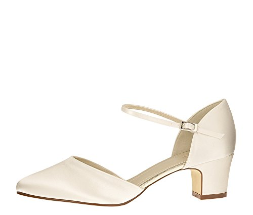 Rainbow Club Brautschuhe Tracey - Pumps Ivory Satin - Riemchen Blockabsatz - Gr 40 EU 7 UK