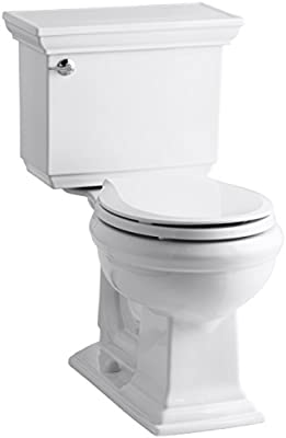 KOHLER K-3933-U-0 Memoirs Stately Comfort Height Two-Piece Round-Front 1.28 Gpf Toilet with Aquapiston Flush Technology, Insuliner Tank Liner and Left-Hand Trip Lever, White