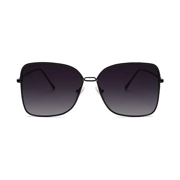 SOJOS Fashion Designer Square Sunglasses for Women Flat Mirrored Lens SJ1082