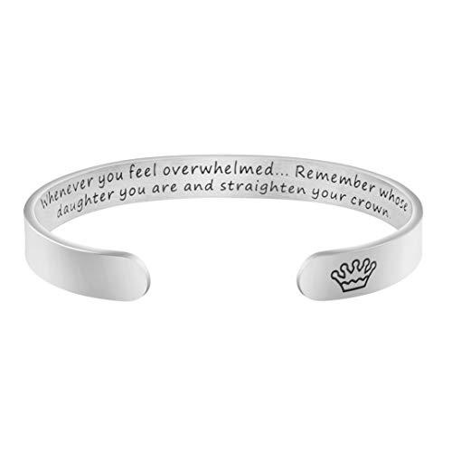 Joycuff Jewellery Cuff Bracelet Straighten Your Crown Inspirational Jewelry for Daughter Granddaughter Teen Girl Encouragement Motivational Gift