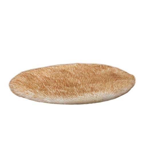 GladiolusA Spitzenqualität Faux Teppich,Imitat Teppich Longhair Fell Optik Bettvorleger Sofa Matte Weiß Gelb 100cm