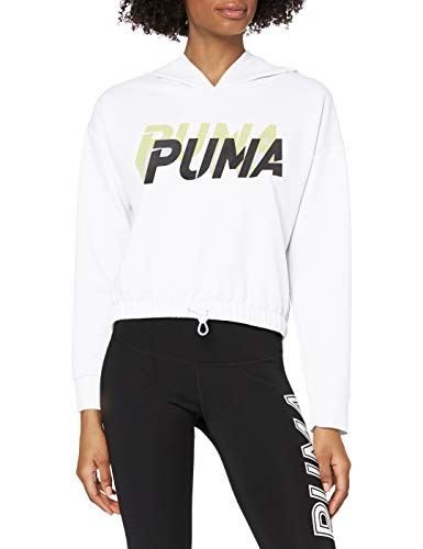 Puma Modern Sports Hoody Pull Femme Puma White-Sunny Lime FR : XS (Taille Fabricant : XS)